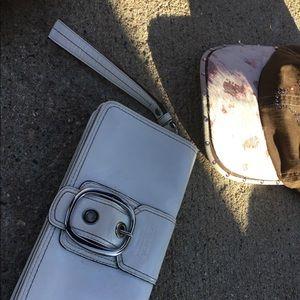 Coach white wristlet purse